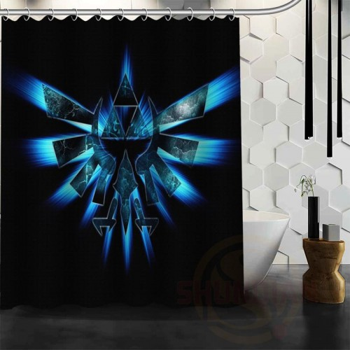ShunQian Custom The Legend of Zelda Shower Curtains Polyester Waterproof Zelda Game Logo Fabric Bath Curtains
