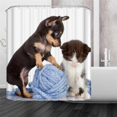 Size Modern Style CatDog CatGoldfish HolidayPuppy LuggagePup Animal Print Waterproof Shower Curtain
