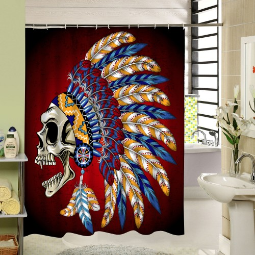 Skull Custom Shower Curtains Fashion Beautiful Bathroom Products High Quality Waterproof Shower Curtain YH 062