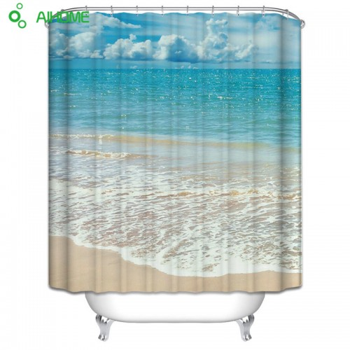 Summer Beach Shower Curtain Waterproof Polyester Shower Curtain Bathroom Decorations