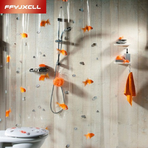 Transparent Goldfish play Stone Bathroom shower curtain Mildew Proof thick waterproof fabric bathroom