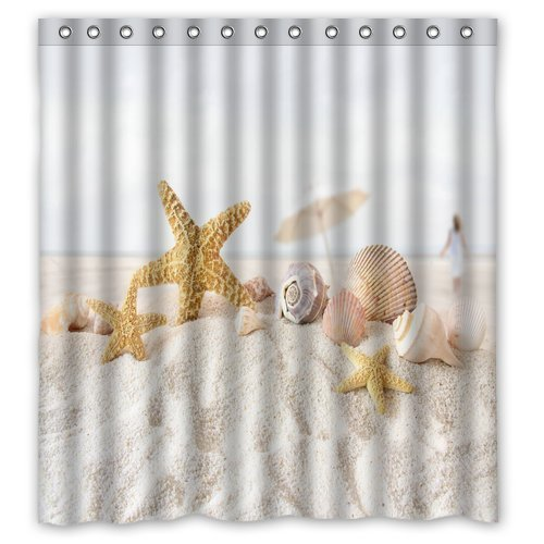 Unique and generic star fish sea shell beach shower for Star material for curtains