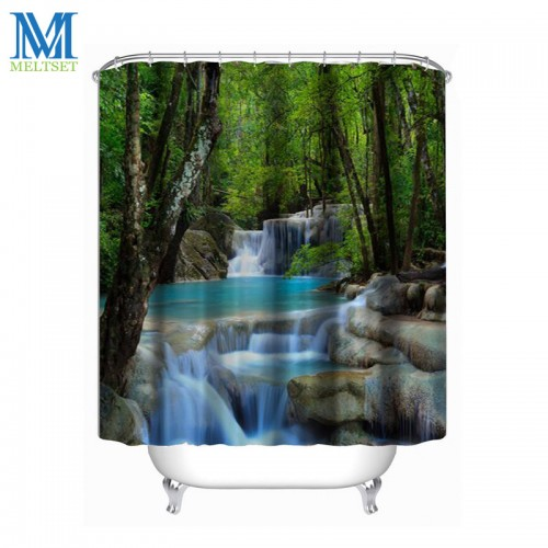 Waterfall Scenery Waterproof Shower Curtain Bathroom Products Creative Polyester Bath Curtain
