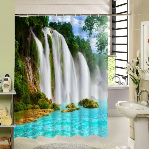 Waterfall Scenic Waterproof Home Decoration Shower Curtain Beach Bathroom Products Polyester Bath