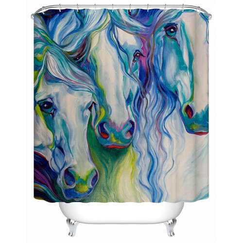 Waterproof Shower Curtain Bathroom Curtain Colored Horse Fabric shower curtain
