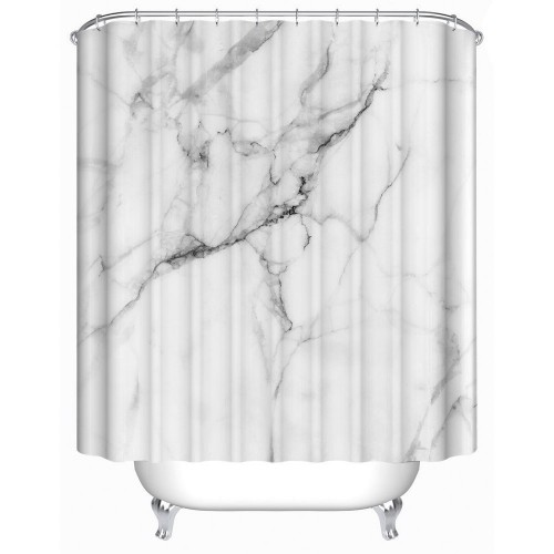 Wild Symbol Marble Pattern Bathroom Shower Curtain White and Grey Polyester Fabric
