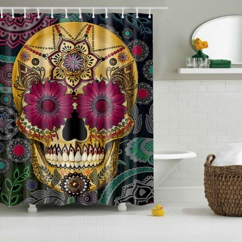 Punk skull shower curtain rideau douche rideau douche en tissu vintage shower - Rideau de douche vintage ...
