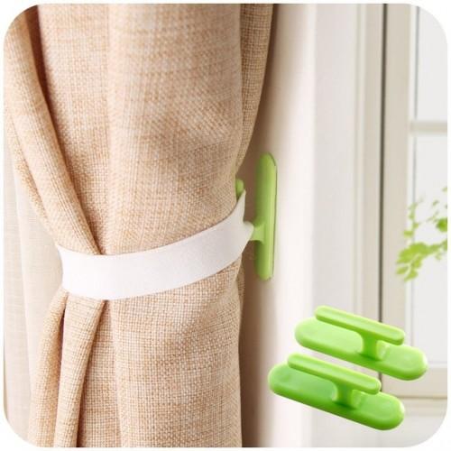 4pcs 2set Self adhesive wall hook organizer curtain holder Window Drapery Hooks Curtain Tieback Buckle Clamp.