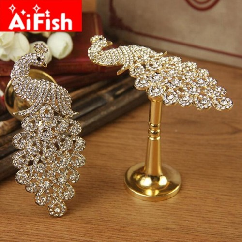 Curtain Accessories Gold and Sliver Zinc Alloy Luxury Fashion Curtain Hooks Holder Hang Peacock For Window.