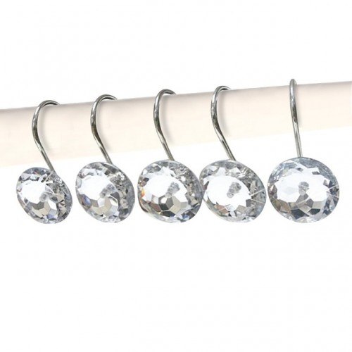 Decorative Crystal Shower Curtain Hooks Bling Rhinestones Rust Proof Polished Chrome for Bathroom Shower Rod