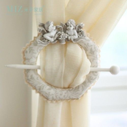 Free Shipping Miz Home White 1 Piece Cute Angel Baby Window Curtain Tieback Buckle Europe Hook.
