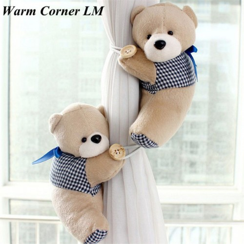 Hot 2PCS Hook Fastener Bears Toys Winne Window Curtain Holder Tieback Buckle Clamp Doll Free Shipping.