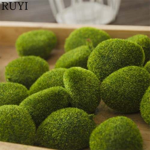 1 Bag artificial green moss ball fake stone simulation plant DIY decoration for shop window hotel