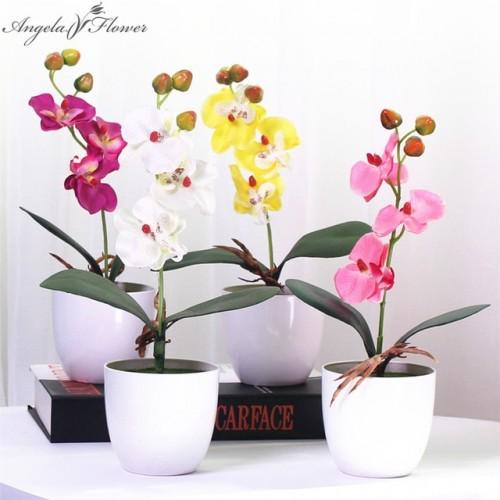 1 Set phalaenopsis potted artificial orchid flower foam leaf plastic vase simulation flower home Christmas decor
