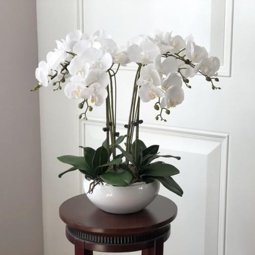 1 set high grade orchids hand feeling flower table flower arrangement no vase