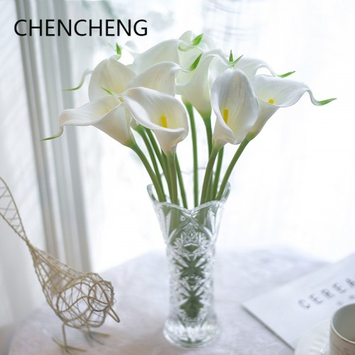10 Pieces lot Simulation Calla Lily Bunch Of Fake Flower Table Decoration Plastic Decorative Flower Garden