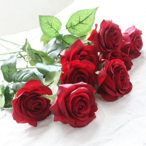 10pcs Lot Silk Rose Artificial Flowers Real Touch Rose Flowers for New Year Home Wedding