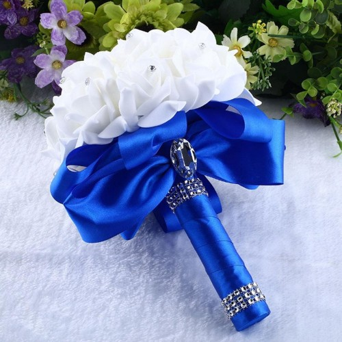 1Piece Cheap Bridesmaid Wedding Decoration Foam flowers Rose Bridal bouquet White Satin Romantic Wedding bouquet