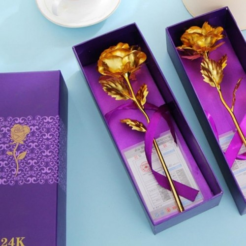 1pcs 24k Gold Foil Plated Rose Dipped Rose Artificial Flower Creative Valentines Day Birthday Wedding
