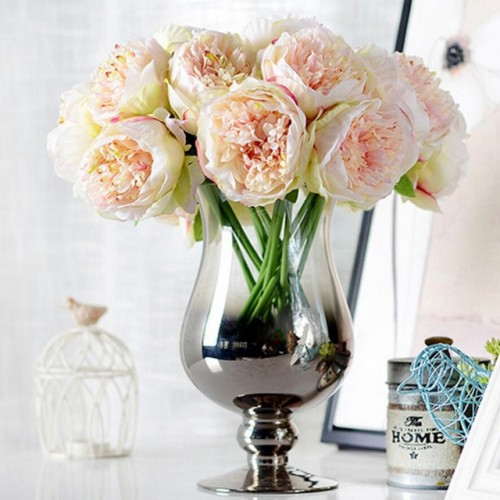 5 Heads Artificial Flowers Peony Bouquet Silk Peony Flowers Bridal Bouquet Fall Vivid Fake Flowers For