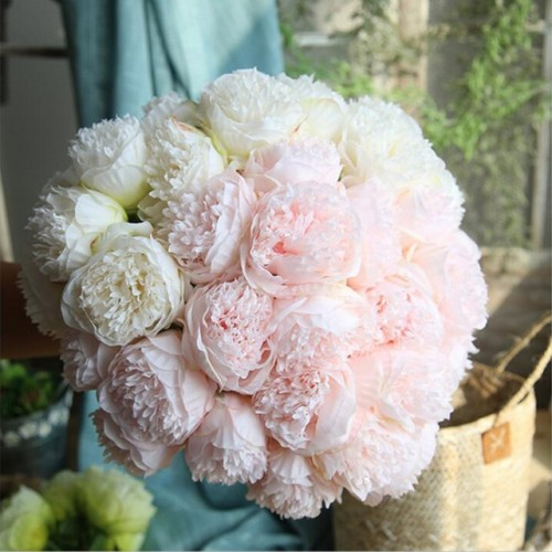 Artificial Flower Peony Silk Peonies Christmas Wedding Party Decorative Fake Flower Autumn Flower Fall Decoration