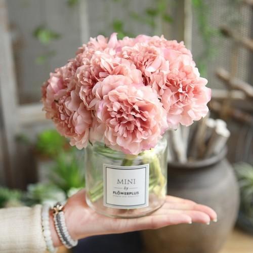 Artificial Flowers Peony Bouquet for Wedding Decoration 5 Heads Peonies Fake Flowers Home Decor Silk Hydrangeas