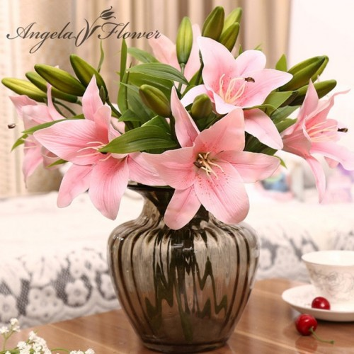 HI Q 11pcs 3 heads real touch PVC artificial lily silk decorative flower for wedding decoration