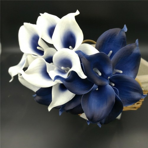 Navy Blue Picasso Calla Lilies Real Touch Flowers For Wedding Bouquets Centerpieces artificial flowers for wedding