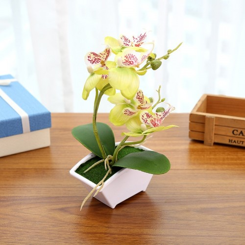 Silk Flower Multi color Artificial Butterfly Orchid Fake Flower Green Leaves Plants With Flower Pot Home