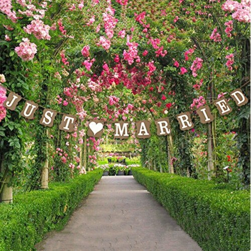 Christmas Decor Wedding Decoration Vintage JUST MARRIED Wedding Card Banner Photo Props Bridal Party Decoration
