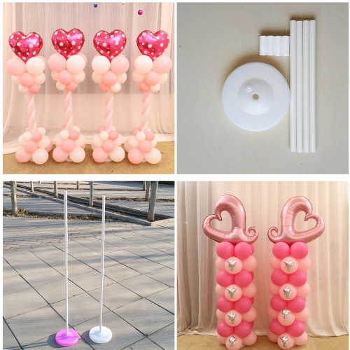 Balloon Column Base Stick Plastic Poles 15 Clips Balloon