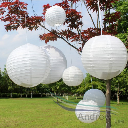 Cheap White Color Lantern Wedding Decor Round Chinese