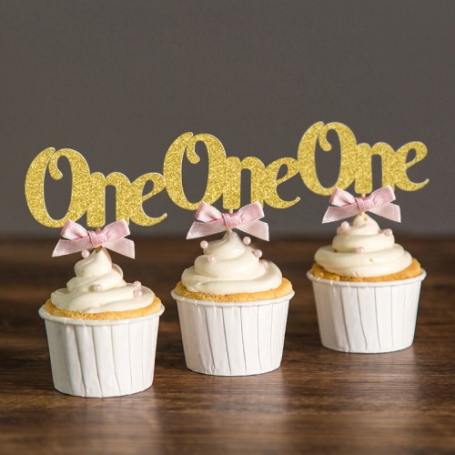 Custom Bow Colors Gold Silver Black Glitter One Cupcake Toppers Picks Baby Shower Kids First