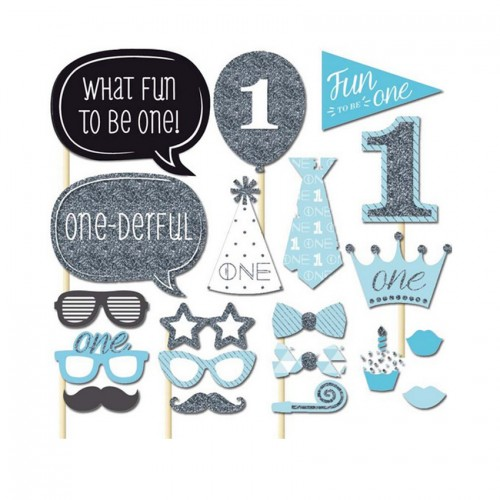 20 pcs lot Photo Booth Props Photobooth For Blue Boy Baby Shower Party 1st