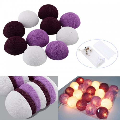 Mixed Color Purple Cotton Ball Party Decorations Led String Lights Fairy Battery Powered Ac110v