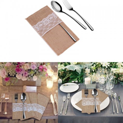 Natural Jute Lace Pockets Rustic Wedding Tableware