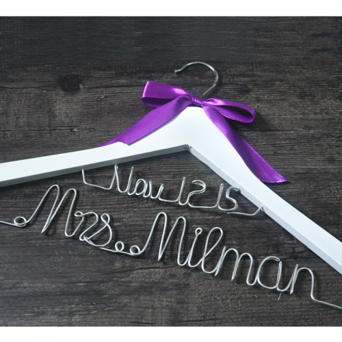 Personalized wedding hanger custom Brides Hanger Bridal Dress Hanger wedding hanger with purple bow wedding gift