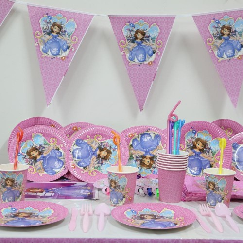 Princess Sofia Cartoon Party Set Disposable Tableware Paper Cup Plate Flag For Birthday