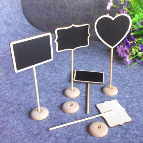 Rectangle Heart Shape Blackboards Message Number Tag Wooden Chalkboard Backboard Wedding Decoration Party