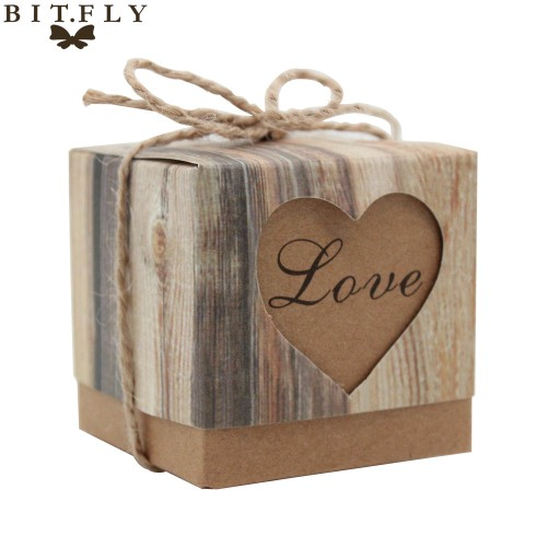 Romantic Heart Candy Box for Wedding Decoration Vintage Kraft Wedding Favors