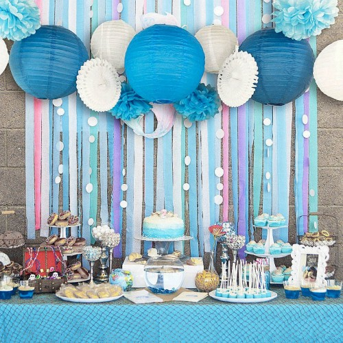 Set of 13 Blue Pink Beach Themed Party Under the Sea Party Decoration Set Girls Boys