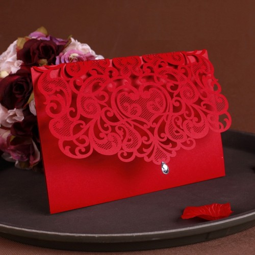 Vintage Wedding Supplies China Laser Cut Luxurious Wedding Invitations Red Elegant Wedding Invitation Paper