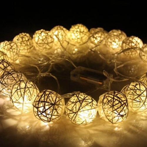 Warm White Rattan Ball String Fairy Lights Wedding Decoration Party