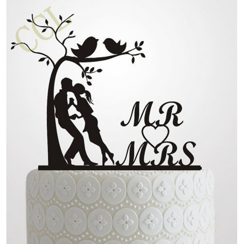 Wedding Cake Topper Silhouette Bride and Groom Elegant and romantic MR MRS With Tree and birds