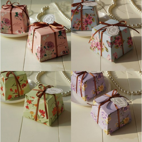 Wedding Favors Supplies Blue Pink Purple Green Trapezoid Floral Candy Boxes Gift Box