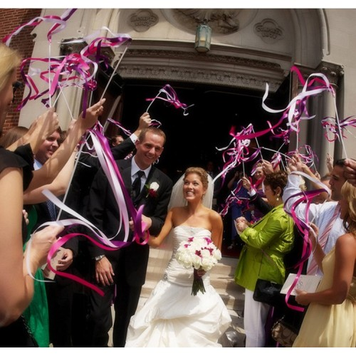 Wedding Ribbon Wands Wedding Stream Ribbon Sticks Wands with Metal