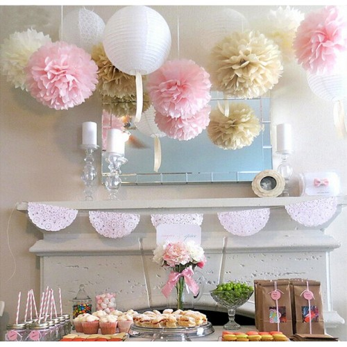 Wedding Series Tissue Paper Pom Poms Paper Lanterns Decoration Fluffy Flowers Sweet Wedding Decoration