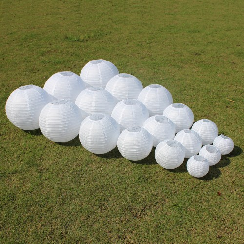 White Chinese Paper Lanterns For Party Wedding Decoration