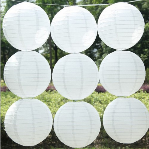 White paper lanterns Round paper lanterns lamps festival wedding decoration party supplies