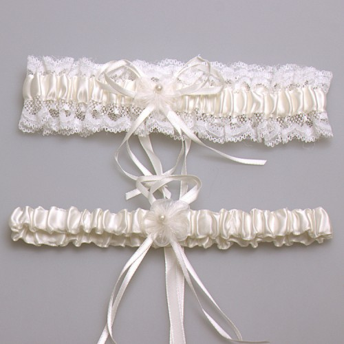 Women Garters Lace Garters Pearls Floral Bowknot Garters Wedding Bridal Leg Belt Garter One Pair